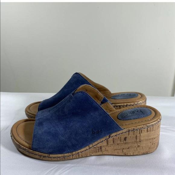 BOC Size 9M Suede Cork Wedge Heels Slip-On Sandals